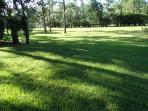 Have some family fun, playing soccer or football on this big front yard field!