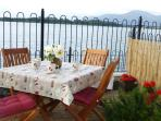Ready for morning coffee on the patio, looking across the bay to the Mourne Mountains