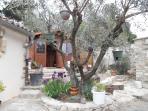 dans un des jardins l'olivier derrière un chalet où mon compagnon Léo joue de la guitare