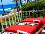 Enjoy the comfy chaise lounges from your third oceanfront deck