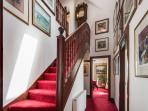 Original Buccleuch staircase with grandfather clock (no ticking!) and the gallery