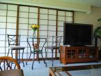 Shoji doors close for guest room privacy.  55' 4K TV and large library of DVDs and BluRays