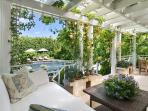 Outdoor patio view from Poolhouse