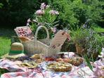 Pique nique au jardin près du bassin