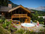Private garden with glorious views towards the Fiz and down the valley from Les Houches.