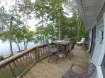 The deck has a panoramic view of the lake!