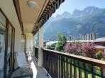 Balcony and views of Aiguilles du Chamonix in the morning.