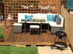 Fabulous garden with seating area and bbq