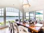 Dining Area with Spectacular Water Views Opens to 2nd Level Deck