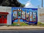 The famous 'Greetings from Austin' mural. Right near our house!