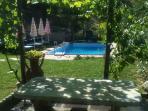 piscina circondata con giardino