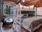 Bunk room is a great kids' retreat with a calm and cozy feel