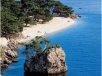 The most beautiful beach in riviera of Makarska - Punta Rata with a blue flag