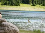 Beach : 300m from home : on the black lake ,  swimming during the summer (24°C in the water)