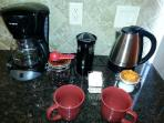 Coffee Station With Starbucks French Roast Beans And State-of-the-Art Bean Grinder