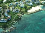 Aerial including Point Village main beach and pool upper right