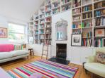 bookshelves crammed with good books