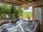 Hot tub with infinity decking great views of the Preseli Hills
