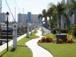 Beautifully landscaped walkways throughout the Yacht Club