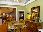 View of dining room into kitchen..