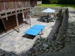 Outside patio area with seating, and  Table Tennis