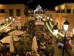 El Campanario by night, 3 mins walk from El Sultan with markets and live music