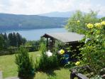 Garden with outlook to the Millstättersee lake and mountains beyond
