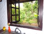 View from kitchen sink to the outside
