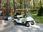 Weather permitting, a golf cart is available to explore Columbia Woodlands, our 400-acre retreat.