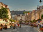 Only 4 tram stops to Nowy Swiat street - prettiest street in City and best way to go to the Old Town