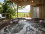Hot Tub with infinity decking and great views. Close the gate behind you to have it all to yourself