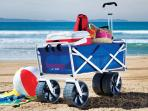 We provide a beach cart with towels , chairs, umbrella etc