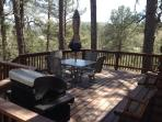Oversize deck, with table/chairs and a BBQ grill with propane