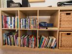 Dining Room - books and (mainly children's) DVDs.