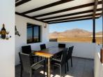 shaded kitchen terrace with great mountain views.