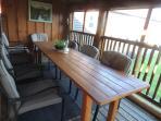 Cedar table on the deck