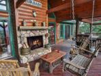 Covered Deck with wood burning fireplace