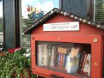Give a book, take a book.  Free library downtown Elkins.