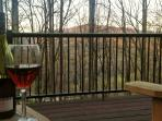 Enjoy a glass of wine on the deck before walking over to Fork's Restaurant.  Fantastic views.
