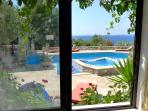 View  to sea  and swimming pool from apartment No2