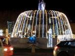 Fountain  'La Rotonde' with Christmas lights