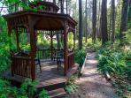 A short stroll and you can relax in the romantic gazebo overlooking a stream.