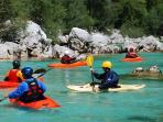 Kayak, rafting and other water sports on the Soca river