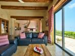 Sitting area with country & sea views