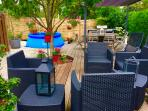 Private shaded terrace, lounge area, table for 6, gas barbecue & sink