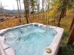 After a long day, soak in your private hot tub