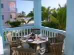 Porch dining with a view of the Caribbean!