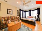 Your beautiful bedroom--queen bed, full sofa bed, TV with satellite TV, and wireless internet.