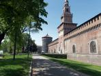 The Sforzesco castle. Le château Sforzesco. Die Burg Sforzesco