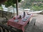 Prepared table for barbecue meal